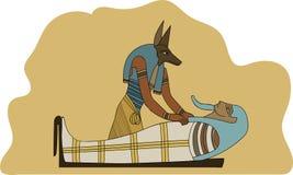 Forntida Egypten Anubis som balsamerar mumifiering en faraoillustration royaltyfria foton