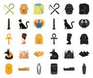 Forntida Egypten tecknad film, svarta symboler i den fastställda samlingen för design Regeringstiden av rengöringsduken för mater stock illustrationer