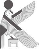 Forntida Egypten väggmålning, forntida Egypten för skulptur bakgrund En illustration av en örn stock illustrationer