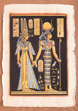 Forntida egyptisk papyrus - egyptisk drottning Cleopatra Royaltyfri Fotografi