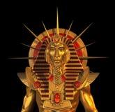 Forntida egyptisk Pharaohstaty på Black Arkivbild