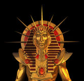 Forntida egyptisk Pharaohstaty på Black royaltyfri illustrationer
