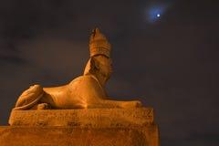 Forntida egyptisk sfinxskulptur mot natthimlen Arkivbilder