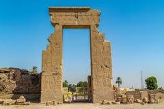 Forntida egyptisk tempel Amon Ra i Luxor med kolonner och härliga basreliefpharaohs kult royaltyfri fotografi