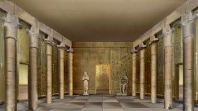 Forntida egyptisk tempel inomhus Arkivbilder