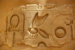 Forntida egyptiska hieroglyf som snidas på stenen Taket av den Karnak templet Arkivfoto