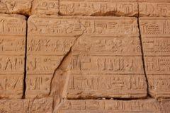 Forntida egyptiska hieroglyf som snidas på stenen Taket av den Karnak templet Royaltyfria Foton
