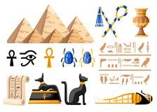 Forntida egyptiska symboler och illustration för symboler för garneringEgypten lägenhet på den vita bakgrundswebbplatssidan och m stock illustrationer