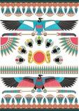 Forntida egyptiska v?ggm?lningar, skulpturer och modeller Forntida Egypten bakgrund stock illustrationer
