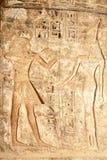 Forntida egyptiskt hieroglyfiskt snida i Medinet Habu Royaltyfri Fotografi