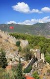 Forntida fästning i Alanya Arkivfoto
