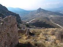 Forntida fördärvar av Corinth Arkivbild