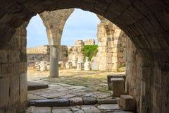 Forntida fördärvar av den Neratzia slotten i Kos Royaltyfria Foton