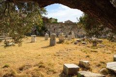Forntida fördärvar av den Neratzia slotten i Kos Royaltyfri Bild