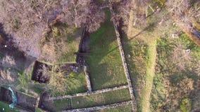 Forntida fördärvar av den roman fästningen Aegyssus, flyg- sikt stock video