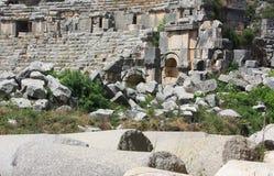 Forntida fördärvar av en amfiteater. Royaltyfri Bild