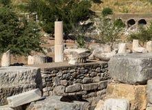 Forntida fördärvar av gammal grekisk stad av Ephesus Arkivbilder