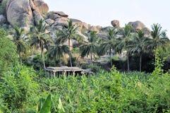 Forntida fördärvar av Hampi, Karnataka, Indien Arkivfoton