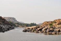 Forntida fördärvar av Hampi, Karnataka, Indien Fotografering för Bildbyråer