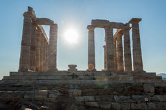 Forntida fördärvar av templet av Poseidon Arkivbilder