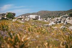 Forntida fördärvar i den forntida staden av Knidos Stäpplandskapet med forntida fördärvar Arkivfoton