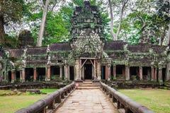 Forntida fördärvar i Ta Prohm eller den Rajavihara templet på Angkor, Siem R Royaltyfri Fotografi
