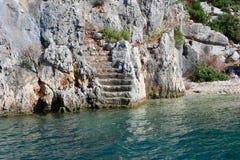 Forntida fördärvar på den Kekova ön, Turkiet royaltyfria foton