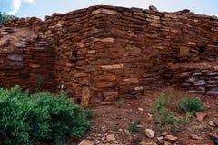 Forntida fördärvar väggen Wupatki nationell monument i Arizona Fotografering för Bildbyråer