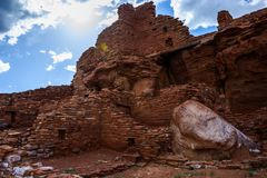 forntida fördärvar Wupatki nationell monument i Arizona arkivfoto