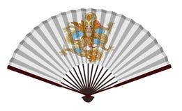 Forntida fan för traditionell kines med draken Royaltyfri Foto