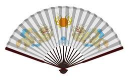 Forntida fan för traditionell kines med draken Royaltyfria Bilder