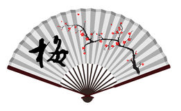 Forntida fan för traditionell kines med wintersweet Royaltyfria Foton