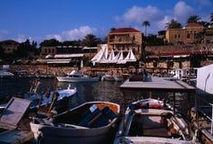 Forntida fiskeport av Byblos Royaltyfri Bild