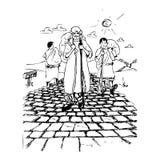 Forntida folk på vägen Stock Illustrationer