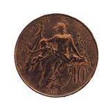 Forntida franskt mynt 10 cent som isoleras över vit Royaltyfria Bilder