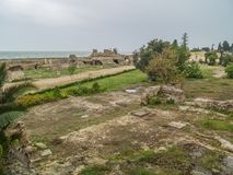 Forntida fördärvar av Carthage, Tunisien Arkivfoto
