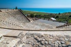 Forntida fördärvar och teatern, Kourion, Cypern Royaltyfria Bilder