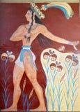 Forntida fresco från Knossos, Crete royaltyfri foto