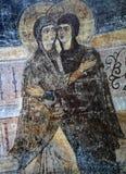 Forntida frescoe i helgonet Sophia Cathedral, Kiev, Ukraina Arkivfoton
