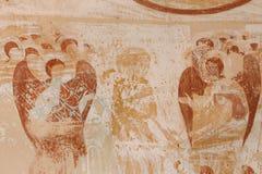 Forntida Frescoes i väggar av grottor av David Gareja Monastery Complex royaltyfri foto