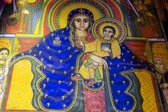 Forntida freskomålning i kyrkan av vår dam Mary av Zion, Aksum, Etiopien Arkivfoto
