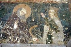 Forntida freskomålning, väggmålningar i den Malancrav kyrkan Transylvania som är romani arkivfoto