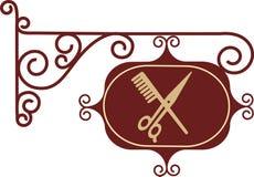 forntida frisörsignboardgata Royaltyfri Bild