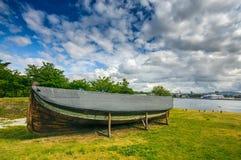 Forntida gammalt fartyg nära det Fram museet, Oslo Arkivfoto