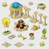 Forntida garnering, byggnader, tegelplattor, skulpterar vektor illustrationer