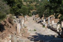 Forntida gata i Ephesus Royaltyfria Bilder