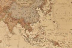 Forntida geografisk översikt av Asien royaltyfri fotografi