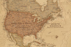 Forntida geografisk översikt av Nordamerika arkivbild