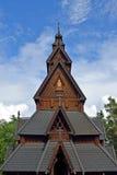 Forntida Gol Stave Church fragment på Bygdoy, Oslo fotografering för bildbyråer
