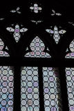 Forntida gotiskt målat glassfönster i gotiska Doge& x27; s-slott i S Arkivfoton